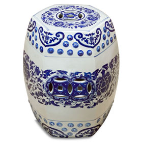 Blue and White Porcelain Peony Motif Asian Garden Stool