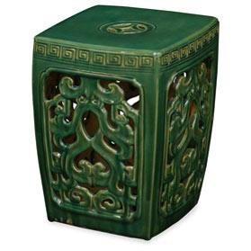 Green Porcelain Mythical Cloud Motif Asian Garden Stool