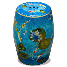 Porcelain Koi Fish Lotus Pond Motif Asian Garden Stool