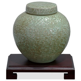Green Qing Dynasty Crackle Porcelain Chinese Jar