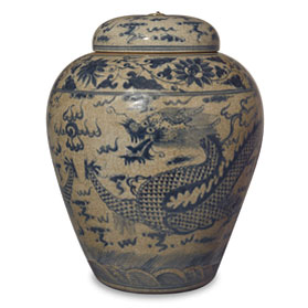 Blue and White Porcelain Imperial Dragon Temple Jar