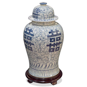 Blue and White Porcelain Double Happiness Chinese Ginger Jar