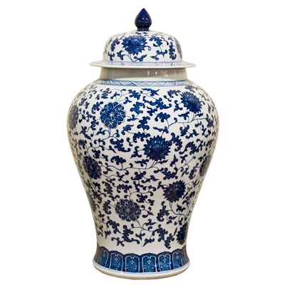 Blue and White Porcelain Ming Imperial Ginger Jar