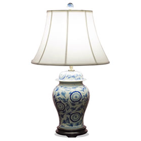 Blue and White Ginger Jar Asian Porcelain Lamp