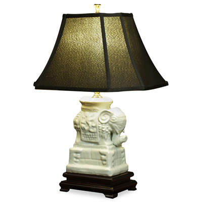 Blanc de Chine Elephant Asian Ceramic Lamp