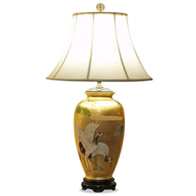 Gold Leaf Longevity Cranes Motif Chinese Ceramic Lamp