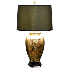 Gold Leaf Imperial Dragon Motif Chinese Ceramic Lamp