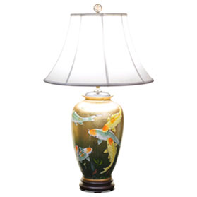 Gold Leaf Prosperity Koi Fish Chinese Ceramic Lamp