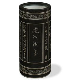 Porcelain Zen Chinese Calligraphy Asian Umbrella Holder