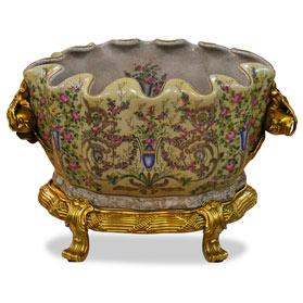 18th Century Ormolu Porcelain Flower Basin