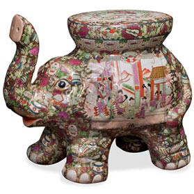 Porcelain Chinese Rose Medallion Elephant Asian Garden Stool