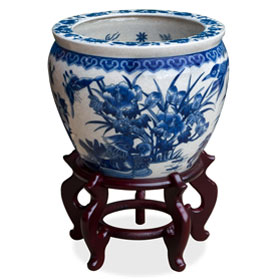 12 Inch Blue and White Porcelain Canton Chinese Fishbowl Planter