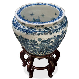 15 Inch Blue and White Porcelain Canton Scenery Oriental Fishbowl Planter