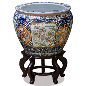 16 Inch Crane and Chrysanthemum Motif Chinese Fishbowl Planter