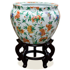 16 Inch White Porcelain Butterfly Motif Chinese Fishbowl Planter