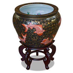 17 Inch Porcelain Koi Fish Motif Chinese Fishbowl Planter
