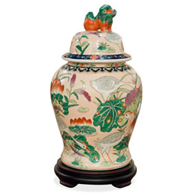Prosperity Cranes and Lotus Motif Chinese Porcelain Jar