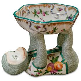 Baronet Motif Chinese Porcelain Monkey Dish