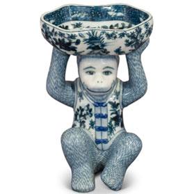 Blue and White Chinese Porcelain Monkey Holding Lotus Dish