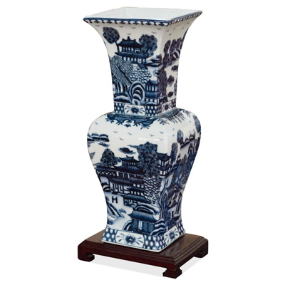Blue and White Scenery Motif Asian Vase