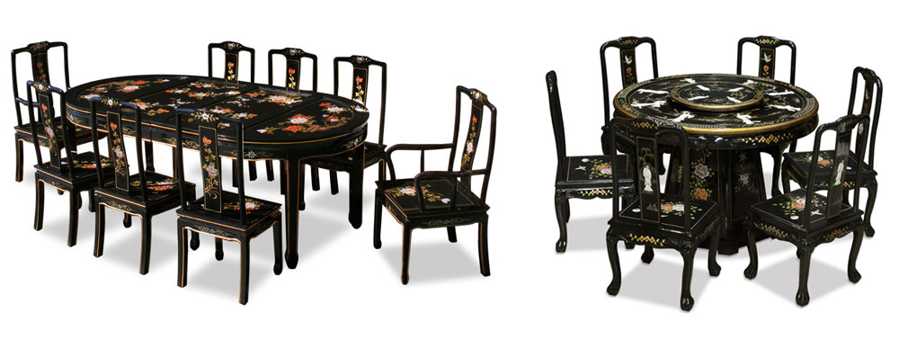 Chinese Black Lacquer Dining Sets