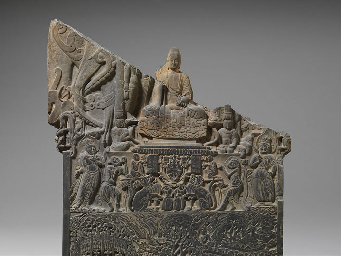 Wei Dynasty Buddhist Stela with Lion Imagery