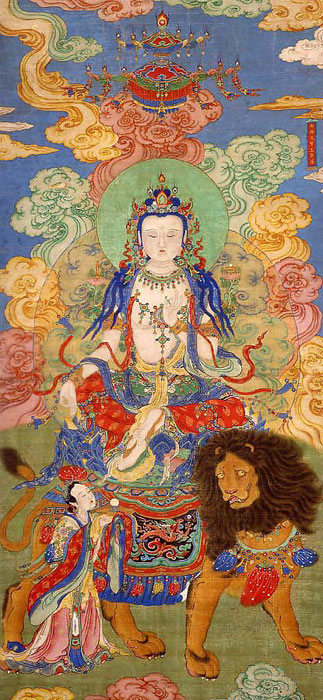 Painting of Buddha atop a Lion