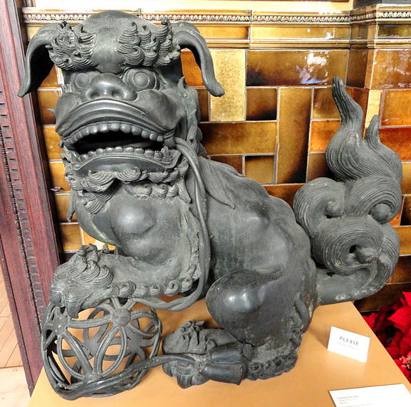 Male Fu Dog Statue with Paw on Ball