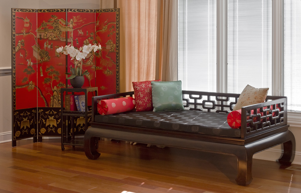 Chinese Daybed and Floor Screen