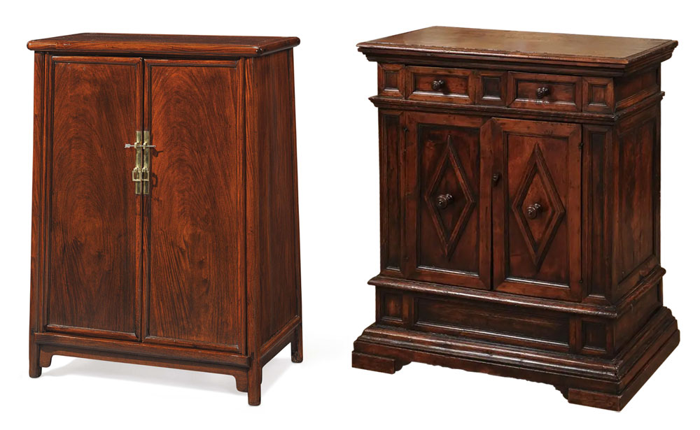 Chinese Qing and Italian Baroque Cabinets