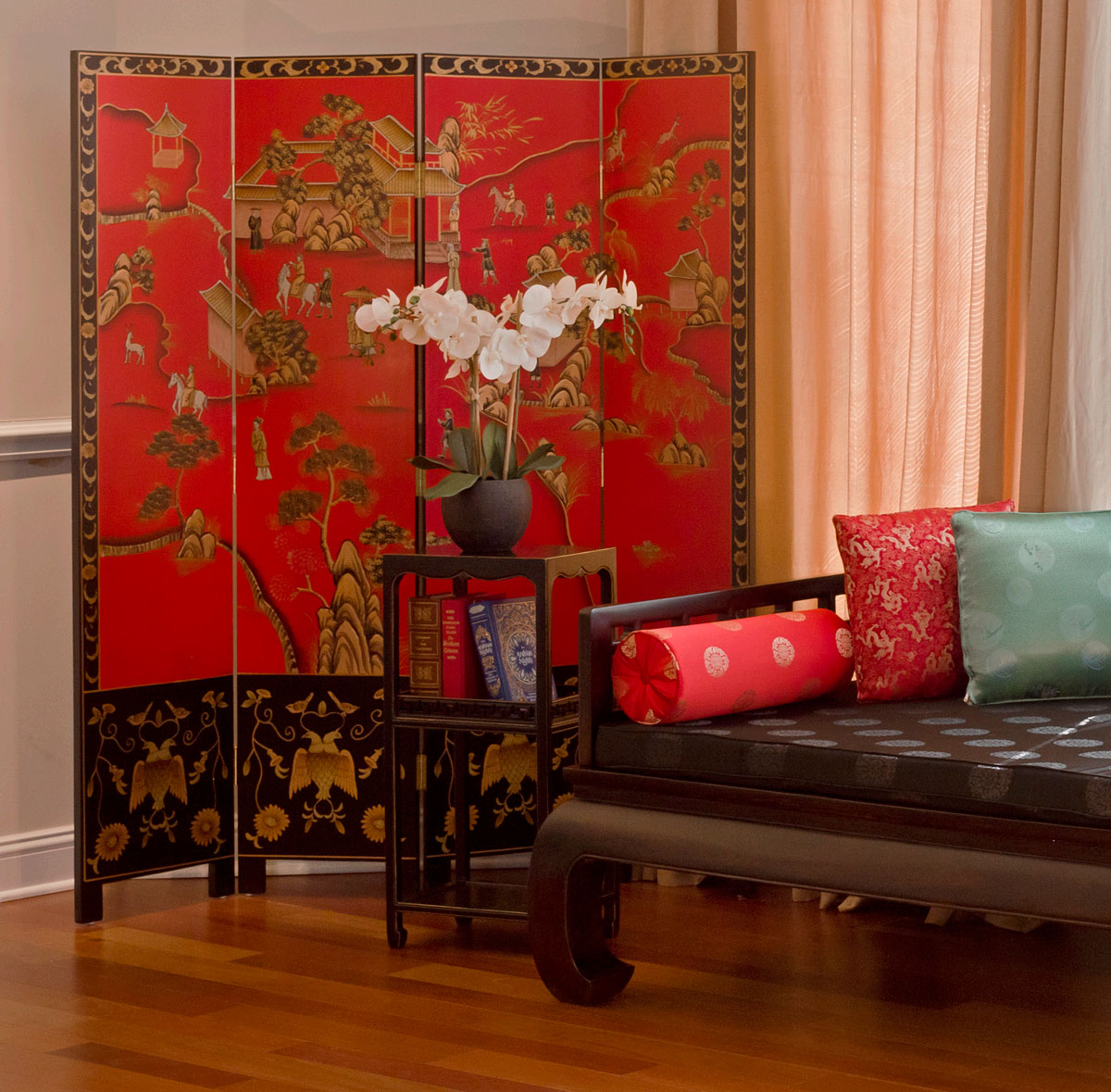 red chinoiserie floor screen