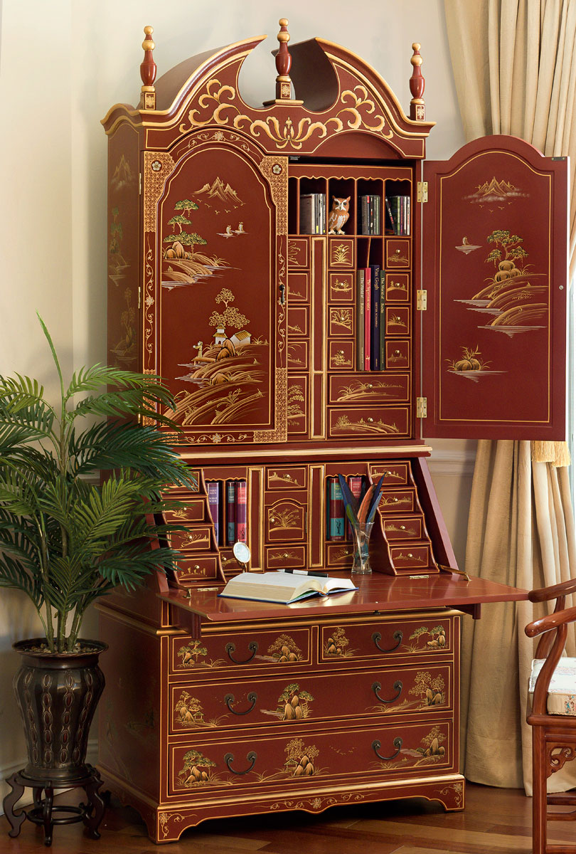 chinoiserie secretaire desk