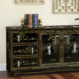 Asian Style Lacquered Furniture with Mother of Pearl Figurine Designs