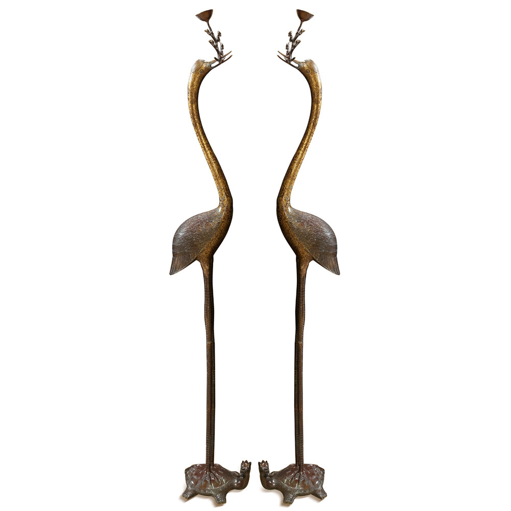 Hand Forged Bronze Longevity Pair of Cranes