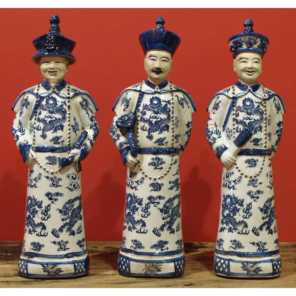 Blue and White Porcelain Qing Emperor Set