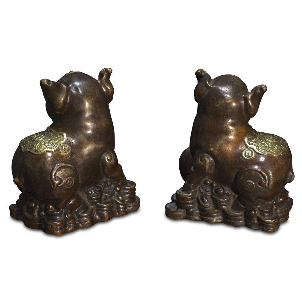 Bronze Lucky Boars Chinese Figurines Set