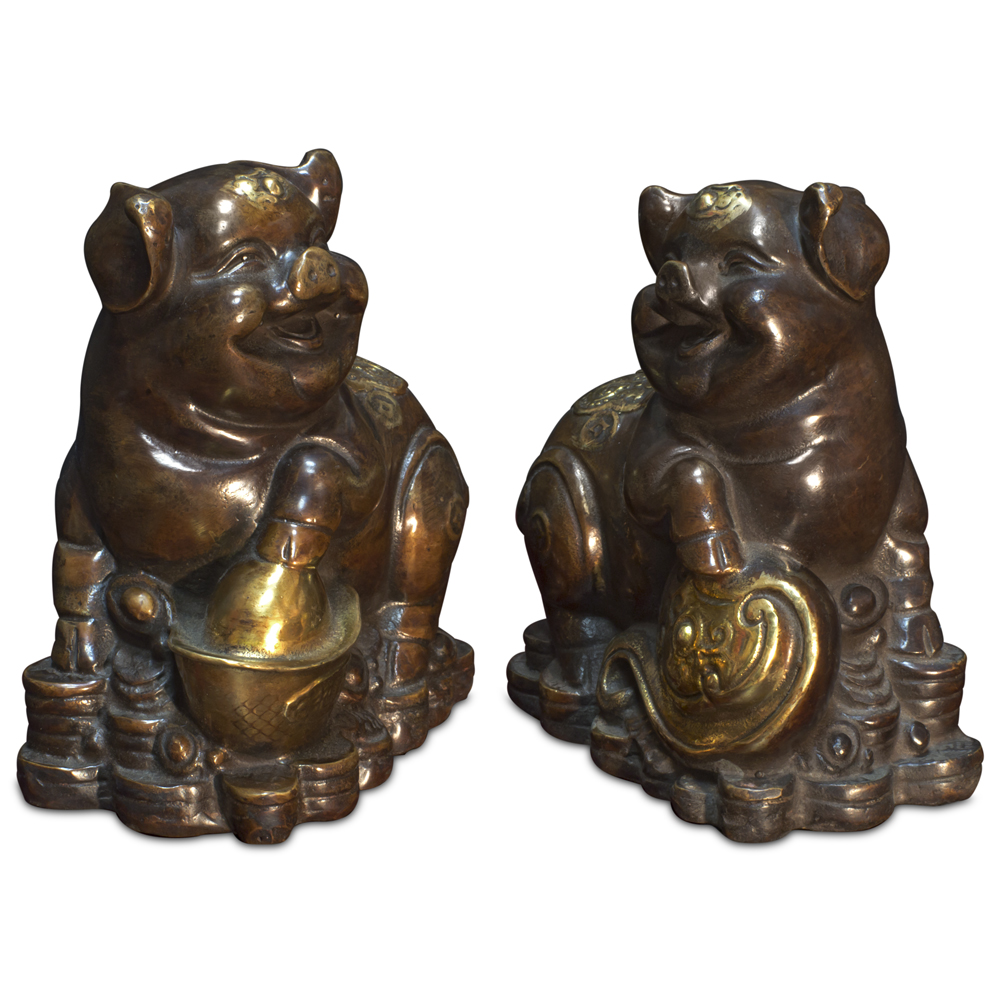 Bronze Lucky Boars Set