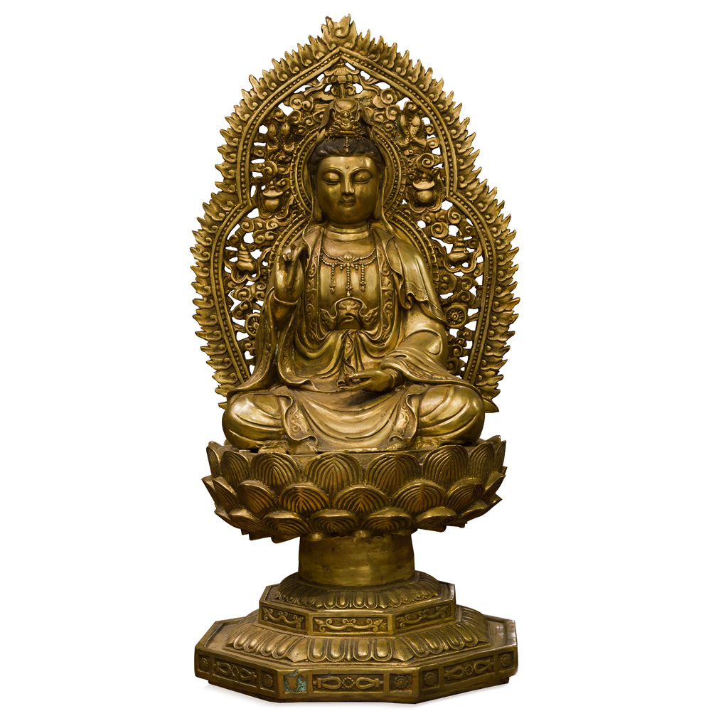 Bronze Guanyin Statue with Willow Branch