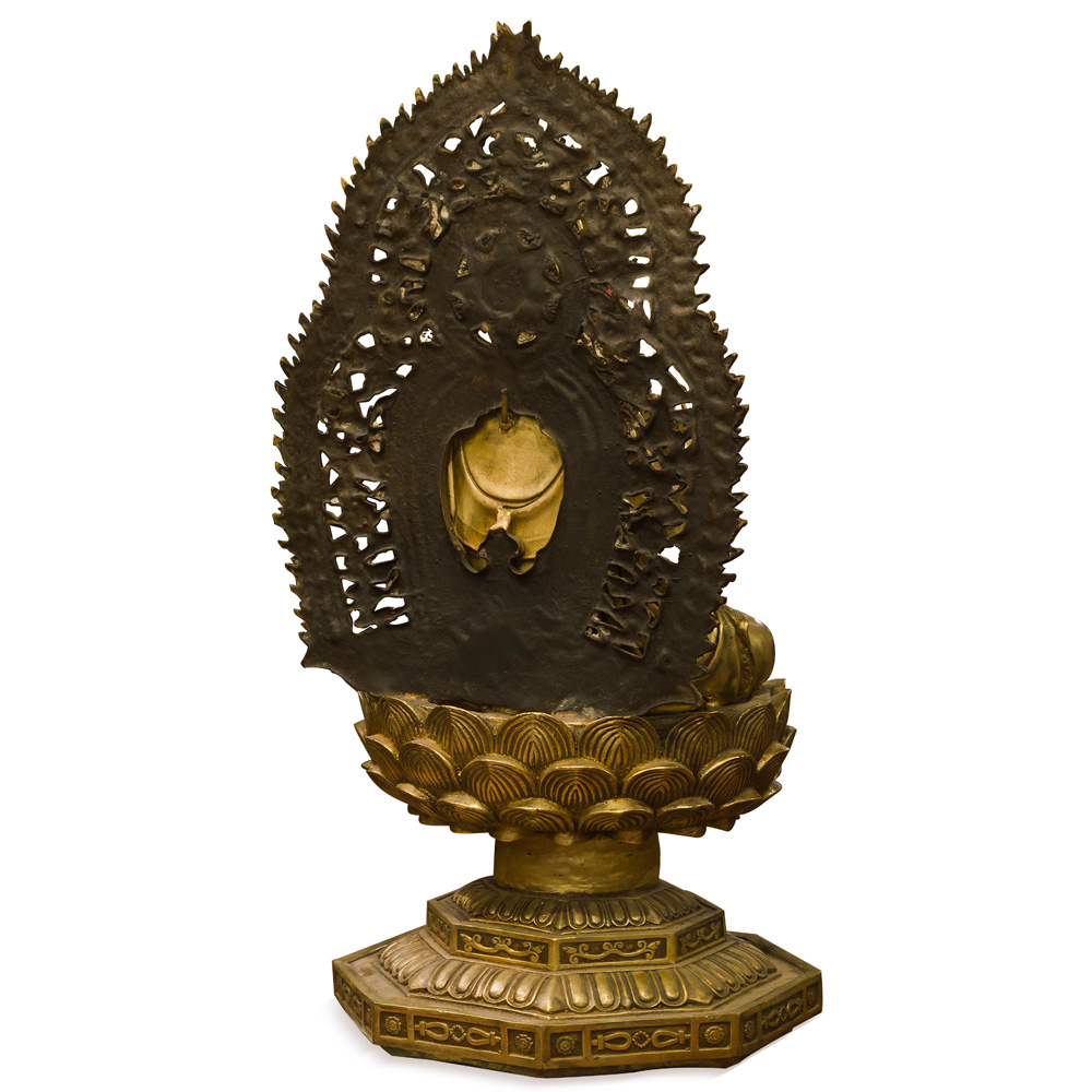 Bronze Guanyin Asian Statue with Willow Branch