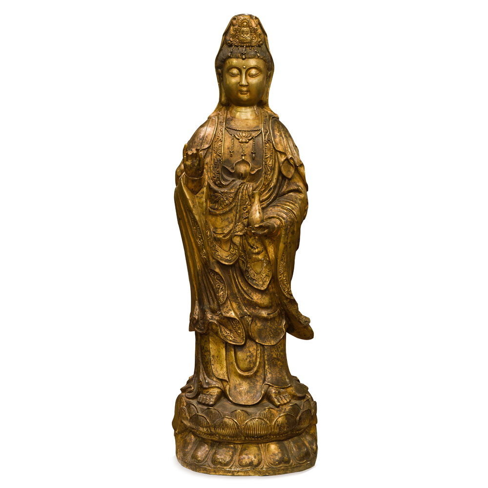 Bronze Standing Guanyin Asian Statue with Bottle