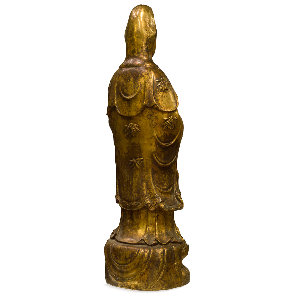 Bronze Standing Guanyin Asian Statue with Lotus