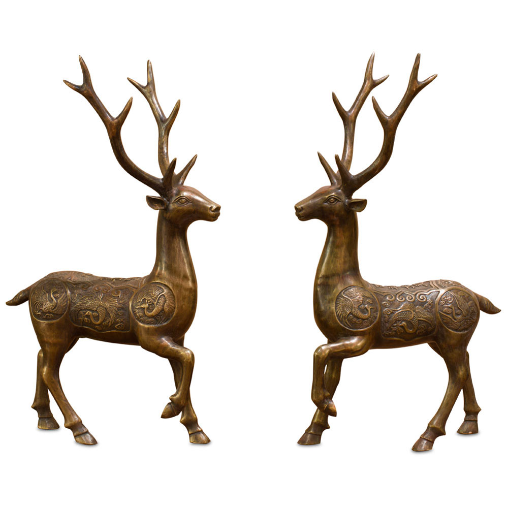 Bronze Chinese Prosperity Ring Deer Statues