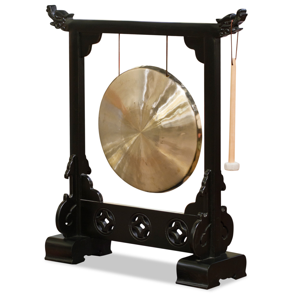 Brass Gong With Black Elmwood Dragon Frame