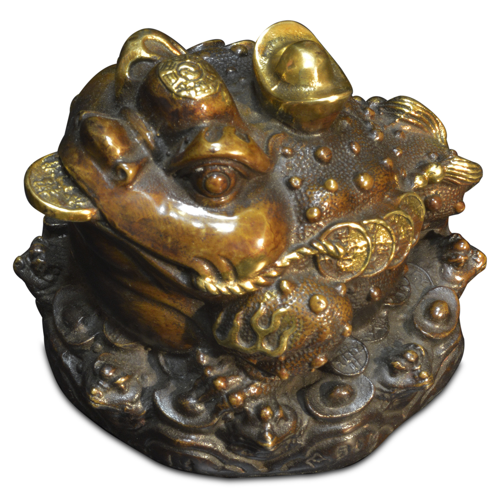 Bronze Lucky Money Toad Chinese Figurine
