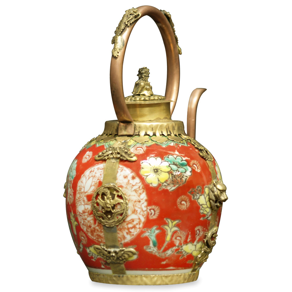 Tibetan Porcelain and Brass Teapot