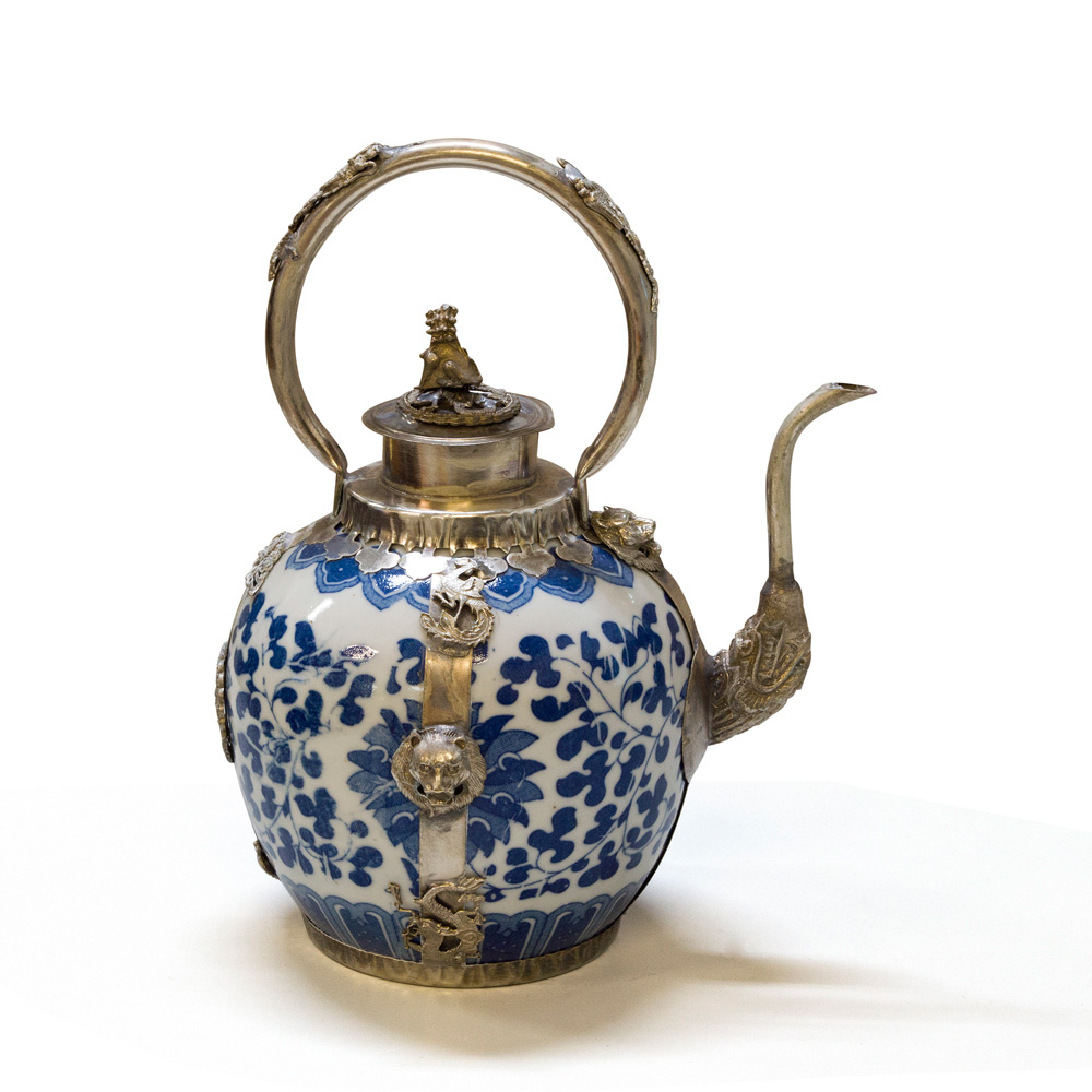 Tibetan Porcelain Teapot with Brass Embellishments
