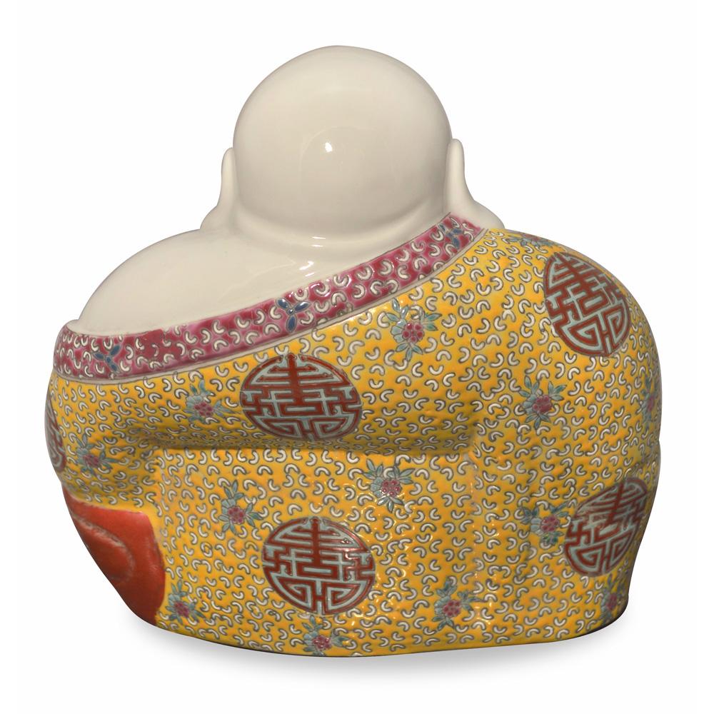 Porcelain Happy Buddha Asian Figurine in Vivid Robe