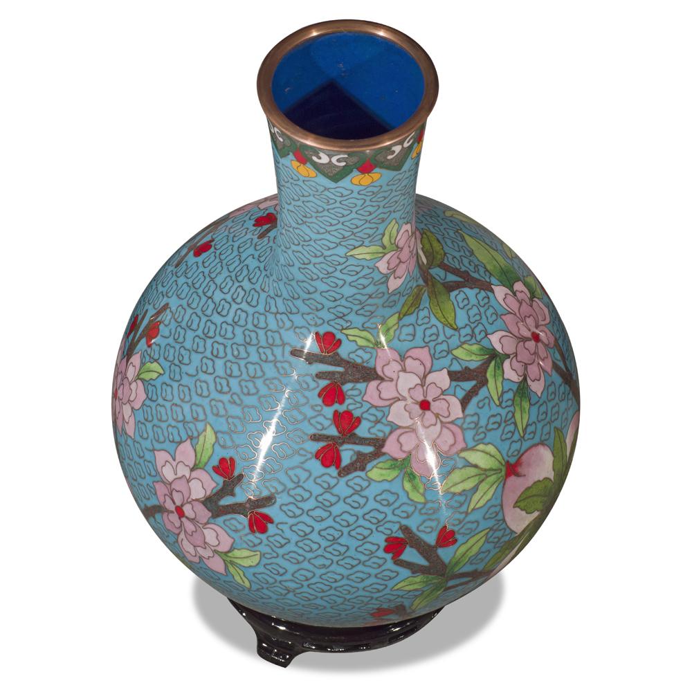 Sky Blue Peking Floral Motif Oriental Cloisonne Vase