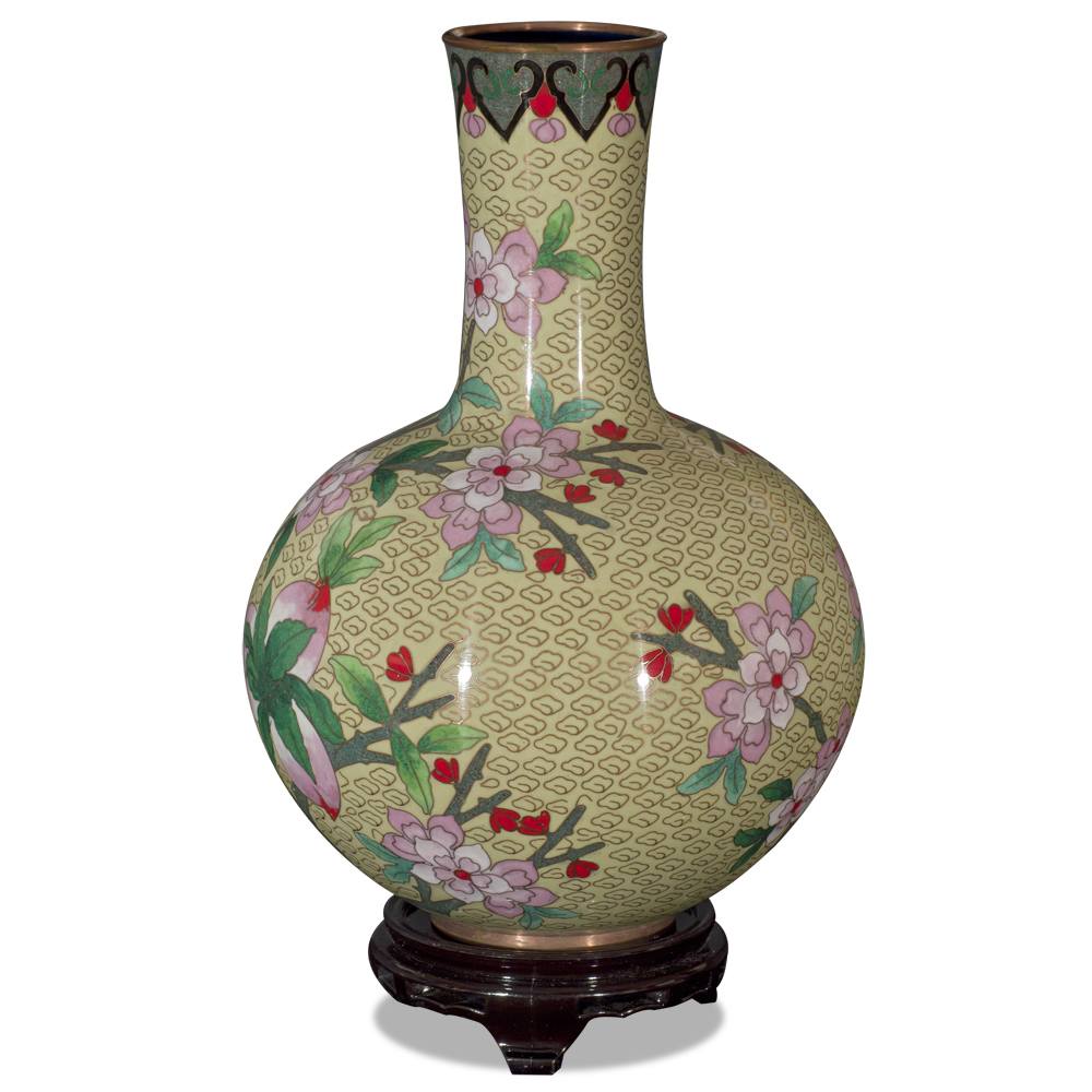 Yellow Peking Cloisonne Vase with Stand