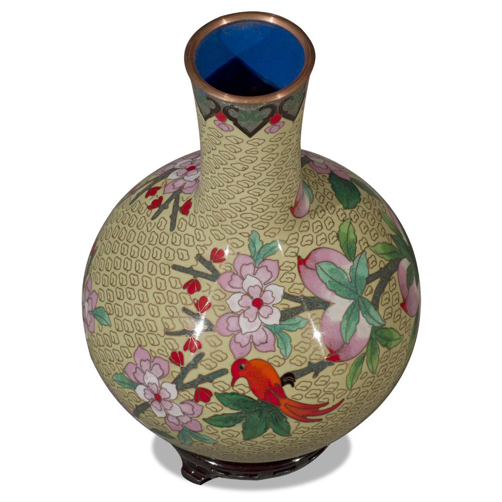 Yellow Peking Floral Motif Cloisonne Vase